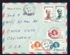 1953  Lettre Avion  De Tananarive  Pour Les USA Yv 309, 310, 311, 312, 313 - Madagascar (1889-1960)