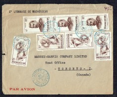 1950 Lettre Avion  De Tananarive  Pour Le Canada Yv  303 X4, 316 X3 - Madagascar (1889-1960)