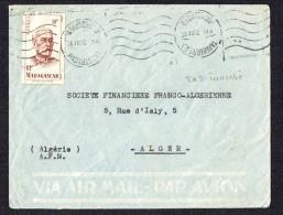 1952   Lettre Avion    De  Tananarive   Pour L'Algérie Yv 315 Seul - Madagascar (1889-1960)