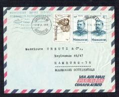 1954   Lettre Avion    De  Tananarive   Pour L'Alllemagne Occidentale  Yv 306, 317 X2 - Madagascar (1889-1960)