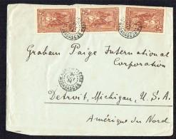 1934  Lettre De  Maroantsetra Pour Les USA  Yv  184 X3  Timbre Du Centre Déchiré - Madagascar (1889-1960)
