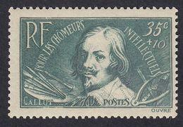 FRANCE Francia Frankreich - 1938 - Yvert 381 Nuovo Con Tracce Di Linguella, 35 + 10 Cent., Verde/blu. - Frankrijk
