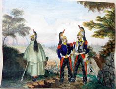 DRAGONS AQUARELLE ORIGINALE REPRESENTANT TROIS DRAGONS EN PIED  VERS 1810/1820 NAPOLEON GUERRES - Militaria