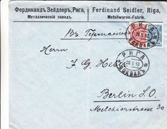 Russie - Lettonie - Lettre De 1910 ° - Oblit Riga - Exp Vers Berlin - Métallurgie - 1857-1916 Empire