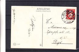 Lettonie - Carte Postale De 1940 -  Oblit Jelgava - Exp Vers Riga - Armoiries - Letland