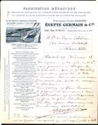 Facture Ancienne Illustrée. Evette Germain Et C°, Usine D'Aubervilliers, 1918 - Imprimerie & Papeterie