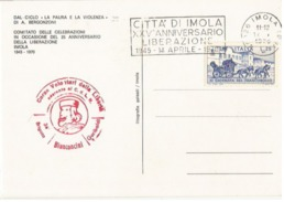 "Targhetta ""Città Di Imola XXV Ann. Liberazione"" 14.4.1970 Cart. Ufficiale Manifestazioni Imola - 6. 1946-.. Republic"