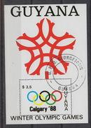GUYANA Yvert Block 18 – Calgary Winter Olympic Games 1988 – Used - Guyana (1966-...)