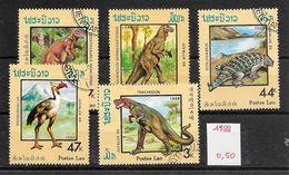 Préhistoire Dinosaure Tyrannosaure - Laos N°844 à 848 1988 O - Prehistorics