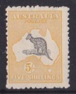 Australia 1918 Kangaroo 5/- Grey & Yellow 3rd Wmk MH - Listed Variety - 1913-48 Kangaroos