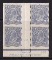 Australia 1928 King George V 3d Blue SMW P13.5 Ash Imprint Block Of 4 MNH/MH - 1913-36 George V: Heads