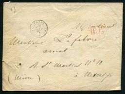 FRANCE  PARIS : ENVELOPPE  DE  PARIS  POUR  NEVERS  DU  28  JANVIER  1847 , A  VOIR . - 1849-1876: Période Classique