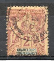Colonies Françaises Et Protectorats (GUADELOUPE) - 1892 - N° 28 - 2 C. Lilas-brun Sur Paille - Guadalupe (1884-1947)