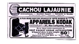 Pub.1916 Appareils Photo Kodak  Vest Pocket Kodak Autographic Le Plus Complet Et Plus Pratique  Cachou Lajaunie TBE - Publicités