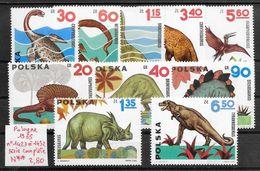 Préhistoire Dinosaure Ptérosaure Tyrannosaure Plésiosaure - Pologne N°1423 à 1432 1965 ** - Timbres