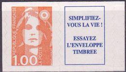 """FR YT 3009a Vignette """" Marianne Briat 1F00 Orange"""" 1996 Neuf** - 1989-96 Bicentenial Marianne"""