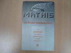DOCUMENT PUBLICITAIRE MATHIS LES ROUE INDEPENDANTES ESSIEU AVANT AUTOMOBILES STRASBOURG - Pubblicitari