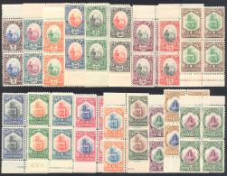1929/35 - Vedute E Libertà, 18 Valori (141/157), Blocchi Di Quattro, Gomma Originale Integra, Perfe... - San Marino