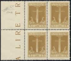 FIUME 1923 - 3 Lire Bistro Bruno, Errore Di Colore (200A), Blocco Di Quattro, Bordo Di Foglio, Gomma... - 8. WW I Occupation