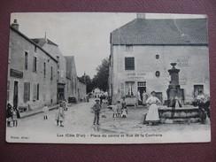 CPA 21 LUX Place Du Centre Et Rue De La Confrérie ANIMATION Devant L'AUBERGE 1908 Canton IS SUR TILLE Amorces Pliures - France