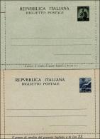1946 - 10 Lire E 20 Lire Biglietto Postale Democratica (B42,B43), Nuovi, Perfetti. ... - Stamped Stationery