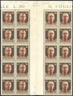 1942 - 30 Cent. Soprastampa Fascetto, Tiratura Di Torino (492), Blocco Di 20 Esemplari Con Interspaz... - 4. 1944-45 Social Republic