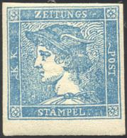 1855 - 3 Cent. Azzurro Chiaro, Mercurio III Tipo (3b), Nuovo, Gomma Originale, Perfetto. Bello! A.Di... - Lombardy-Venetia