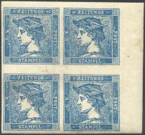1855 - 3 Cent. Mercurio Azzurro, III Tipo (3), Blocco Di Quattro Bordo Di Foglio, Gomma Originale In... - Lombardy-Venetia