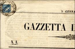 """1856 - 3 Cent. Azzurro, Mercurio II Tipo (2), Perfetto, Su Giornale Completo """"Gazzetta Di Cremona"""" D... - Lombardy-Venetia"""