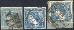 1951/55 - 3 Cent. Mercurio Azzurro, Due Esemplari Del I Tipo E Uno Del III (1,3), Usati. ... - Lombardy-Venetia