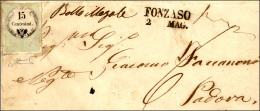 1858 - 15 Cent. Marca Da Bollo Calcografica (7), Ottimo Stato, Su Sovracoperta Di Lettera Da Fonzaso... - Lombardy-Venetia