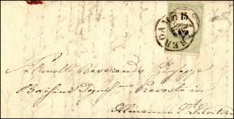 1856 - 15 Cent. Marca Da Bollo Calcografica (7), Perfetta, Su Lettera Da Bergamo 28/7/1856 Ad Almenn... - Lombardy-Venetia