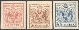 1866 - 15 Cent. Rosso, 30 Cent. Bruno, 45 Cent. Azzurro, Ristampe Del 1866 (R3/R5), Gomma Originale,... - Lombardy-Venetia