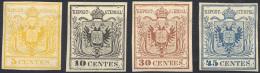 1866 - 5 Cent. Giallo, 10 Cent. Nero, 30 Cent. Bruno, 45 Cent. Azzurro, Ristampe Del 1866 (R1,R2,R4,... - Lombardy-Venetia