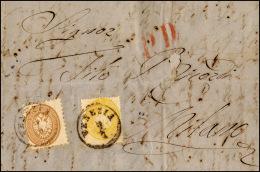 1865 - 15 Soldi Bruno, Dent. 9 1/2, Un Angolo Arrotondato, 2 Soldi Giallo, Dent. 14, Perfetto (45,36... - Lombardy-Venetia
