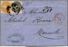 1864 - 15 Soldi Bruno, 10 Soldi Azzurro (44,45) Perfetti, Su Sovracoperta Di Lettera Da Verona 29/9/... - Lombardy-Venetia