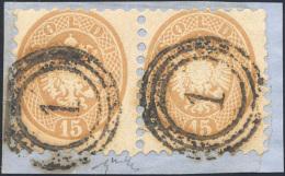 """1864 - 15 Soldi Bruno (45), Coppia, Ottimo Stato, Annullata Con Il Bollo Di Distribuzione """"1"""" Di Vie... - Lombardy-Venetia"""