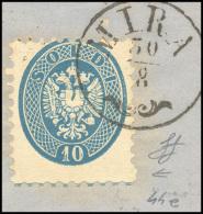 1864 - 10 Soldi Azzurro, Ultima Riga Del Foglio Con Parte Dell'inquadratura In Basso (44a), Perfetto... - Lombardy-Venetia