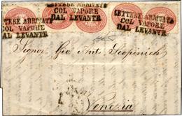 1866 - 5 Soldi Rosa, Dent. 9 1/2 (43), Cinque Esemplari, Perfetti, Su Fresca Lettera Da Costantinopo... - Lombardy-Venetia