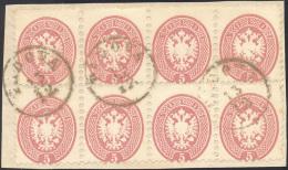1864 - 5 Soldi Rosa, Dent. 9 1/2 (43), Eccezionale Blocco Di Otto Usato A Padova Su Frammento, Perfe... - Lombardy-Venetia
