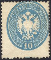 1863 - 10 Soldi Azzurro, Dent. 14 (39), Senza Gomma, Perfetto. Raro. G.Oliva, Cert. Ferrario. ... - Lombardy-Venetia