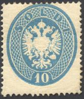 1863 - 10 Soldi Azzurro, Dent. 14 (39), Gomma Originale, Perfetto. Raro! A.Diena, Cert. Diena. ... - Lombardy-Venetia