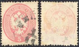 1863 - 5 Soldi Rosa, Dent. 14, Decalco Parziale (38), Usato, Perfetto. Non Comune! ... - Lombardy-Venetia