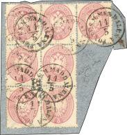 1863 - 5 Soldi Rosa, Dent. 14 (38), Eccezionale Blocco Di Sei Più Un Esemplare Singolo, Su Framment... - Lombardy-Venetia