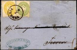 1864 - 2 Soldi Giallo, Dent. 14, 3 Soldi Verde, Dent. 9 1/2 (36,42), Perfetti, Su Sovracoperta Di Le... - Lombardy-Venetia