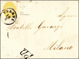 1864 - 2 Soldi Giallo, Dent. 14 (36), Perfetto, Isolato Su Sovracoperta Di Circolare Da Verona 10/5/... - Lombardy-Venetia