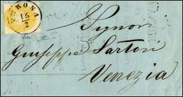 1864 - 2 Soldi Giallo, Dent. 14 (36), Perfetto, Isolato Su Circolare Da Verona 16/2/1864 A Venezia. ... - Lombardy-Venetia