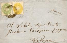 1864 - 2 Soldi E 3 Soldi, Dent. 14 (36,37) Perfetti, Su Fresca Lettera Da Roverbella (C4 Punti 7) 24... - Lombardy-Venetia