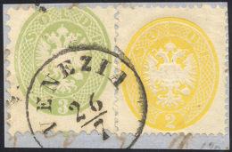 1864 - 2 Soldi Giallo, Dent. 14, E 3 Soldi Verde, Dent. 9 1/2 (36,42), Perfetti, Usati Su Frammento ... - Lombardy-Venetia