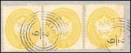 1863 - 2 Soldi Giallo, Dent. 14 (36), Tre Esemplari Perfetti Usati Su Frammento A Mirano. Molto Bell... - Lombardy-Venetia